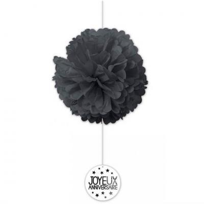 Décoration anniversaire noire avec 2 boules en soie (x1) REF/FDSN