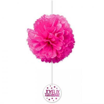 Décoration anniversaire rose fuchsia avec 2 boules en soie (x1) REF/FDSF