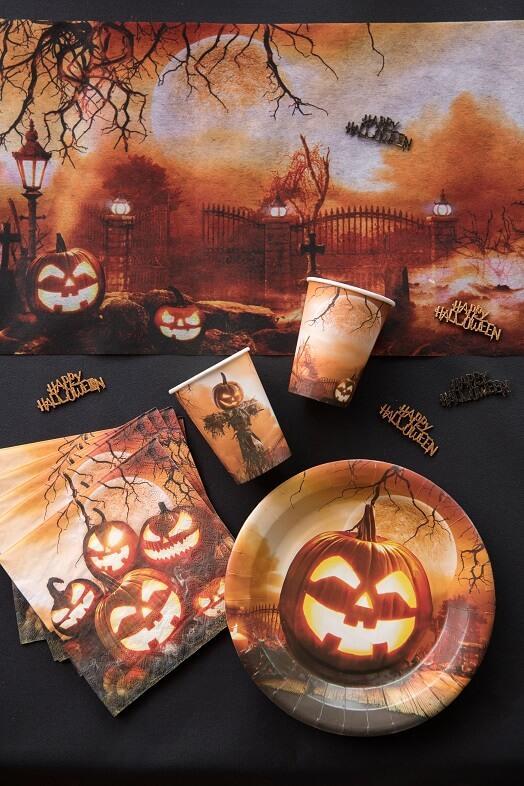 Decoration assiette carton halloween citrouille