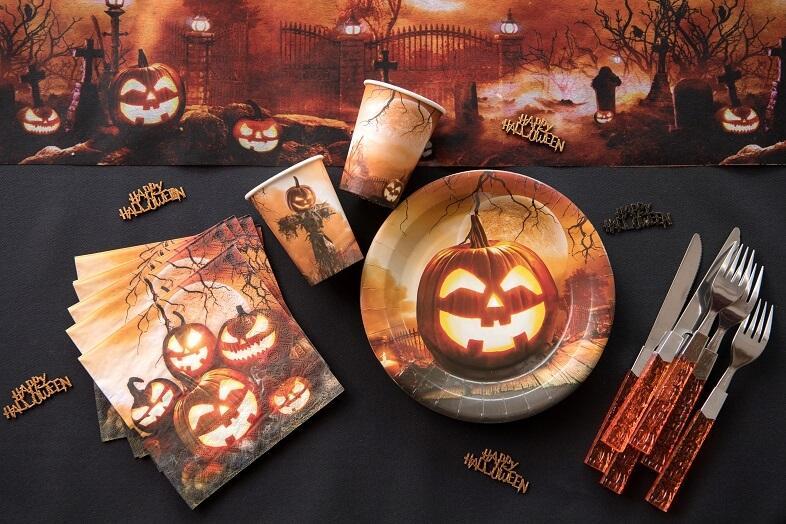 Decoration assiette halloween citrouille