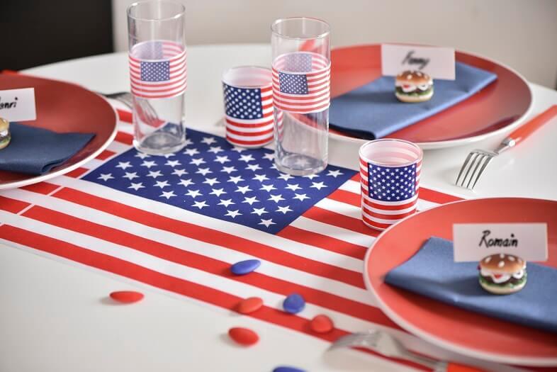 Decoration avec chemin de table amerique usa