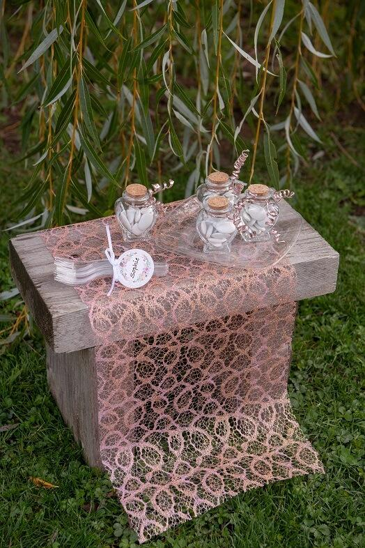 Decoration avec chemin de table rose gold 1