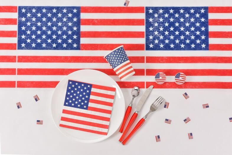 Decoration avec set de table etats unis d amerique des usa
