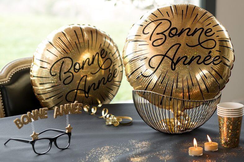 Decoration ballon bonne annee dore et noir en alu