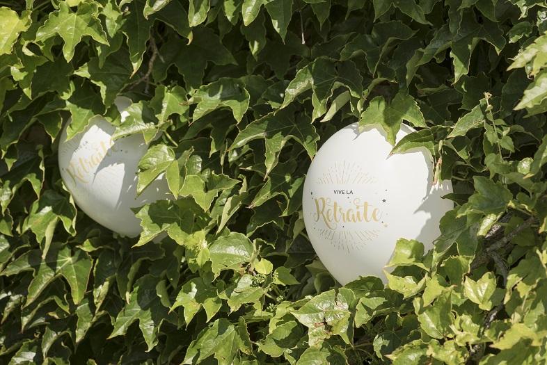 Decoration ballon vive la retraite blanc et or metallise