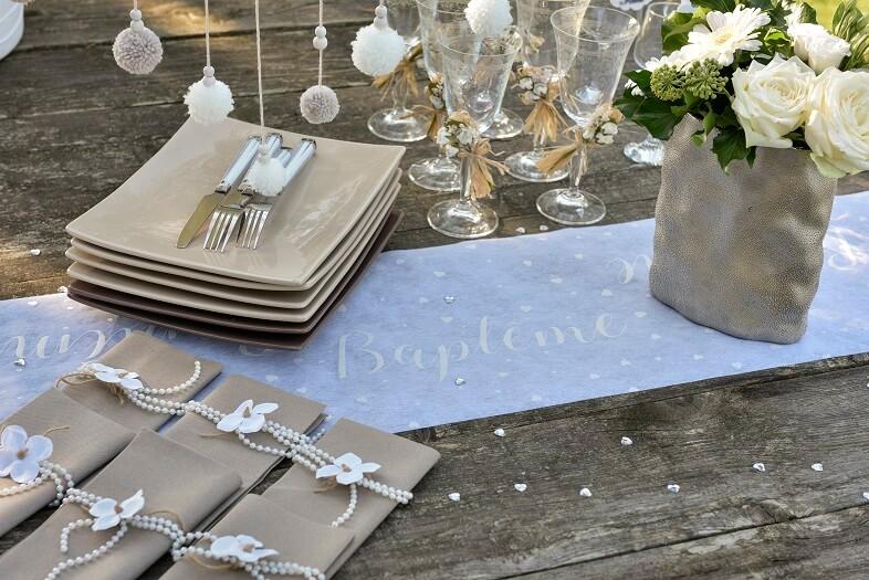 Decoration bapteme pour la table