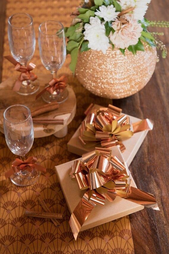 Decoration boite de noel noeud automatique rose gold en 30mm