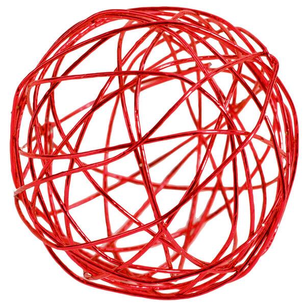 Decoration boule metalique rouge