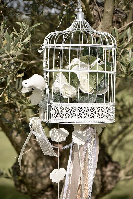 Decoration centre de table mariage cage blanche metallique