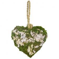 Décoration Champêtre coeur en mousse avec ficelle blanc et vert (x2) REF/DEK0202