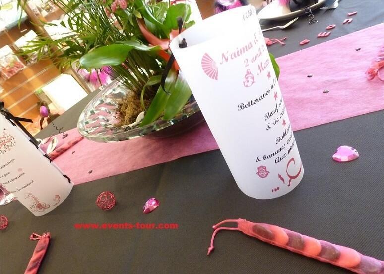 Decoration chemin de table in tisse rose fuchsia