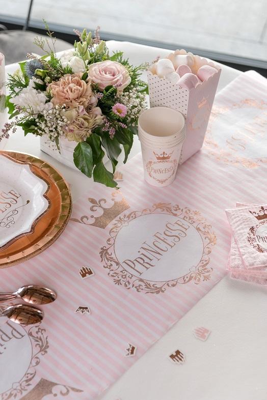 Decoration chemin de table princesse rose gold