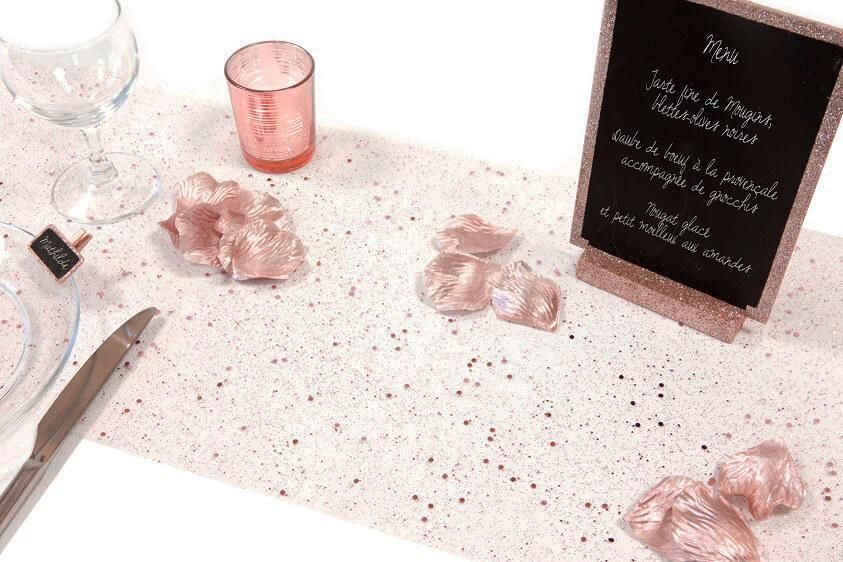 Decoration chemin de table tulle paillete rose gold
