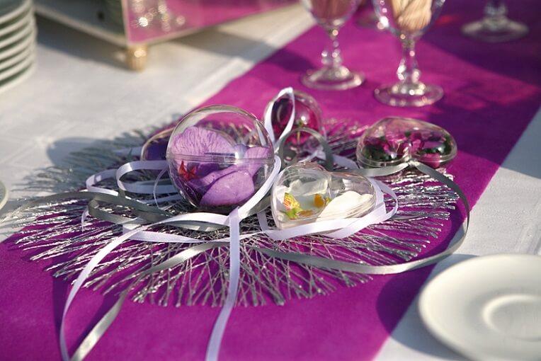 Decoration coeur en plexi mariage