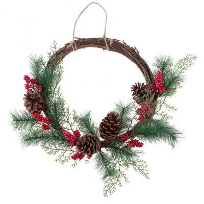 Décoration couronne de Noël en bois (x1) REF/7434