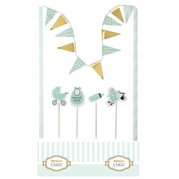 Decoration de gateau baby shower vert
