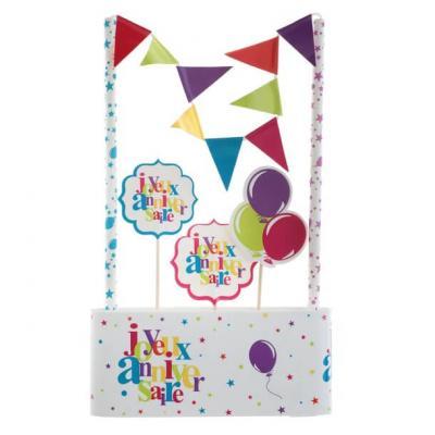 Décoration gâteau anniversaire multicolore (x1) REF/6220