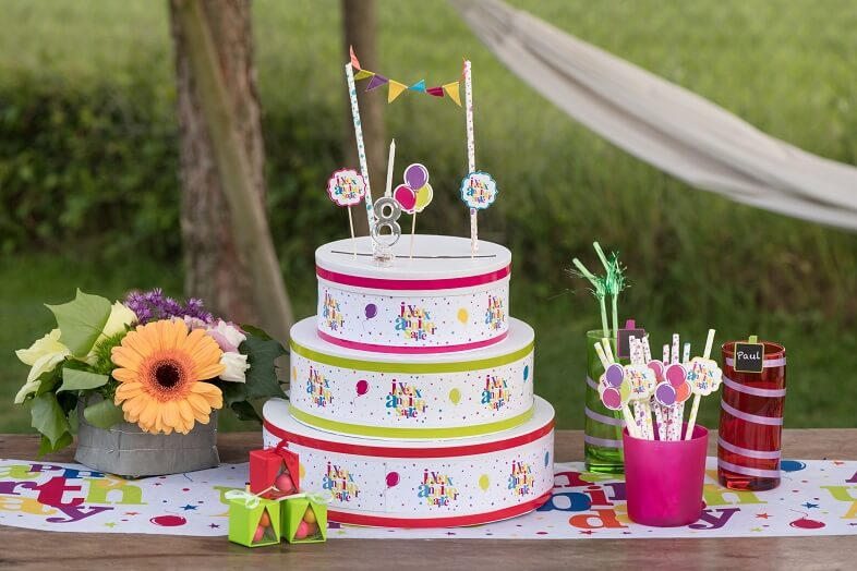Decoration de gateaux d anniversaire multicolore