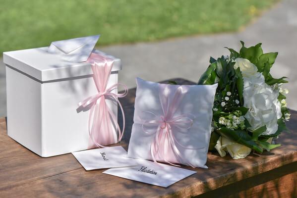 Decoration de mariage blanc et rose