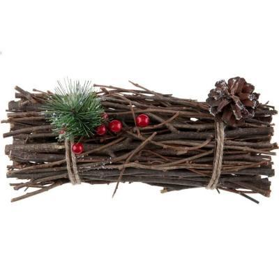 Fagot en bois naturel et sa décoration de Noël (x1) REF/7433