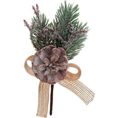 Décoration de Noël avec branche sapin, pomme de pin et ruban façon givré (x2) REF/7439