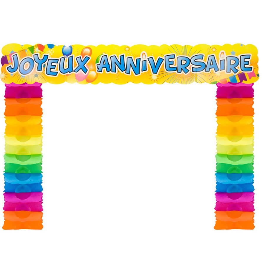 Decoration de porte joyeux anniversaire multicolore