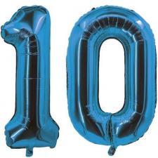 Decoration de salle avec ballon anniversaire chiffre 10 bleu en aluminium