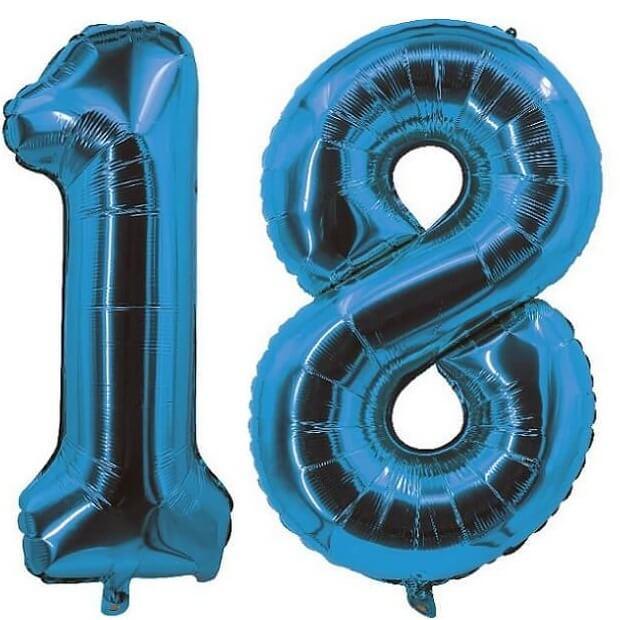 Decoration de salle avec ballon anniversaire chiffre 18 bleu en aluminium