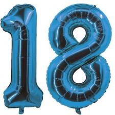 REF/7005 Décoration de salle avec ballon anniversaire chiffre 18 bleu en aluminium de 30cm.