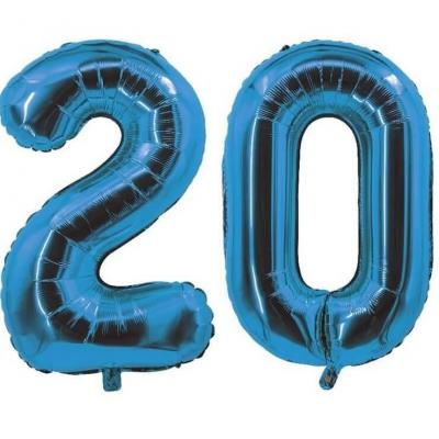 REF/7005 Décoration de salle avec ballon anniversaire chiffre 20 bleu en aluminium de 30cm.