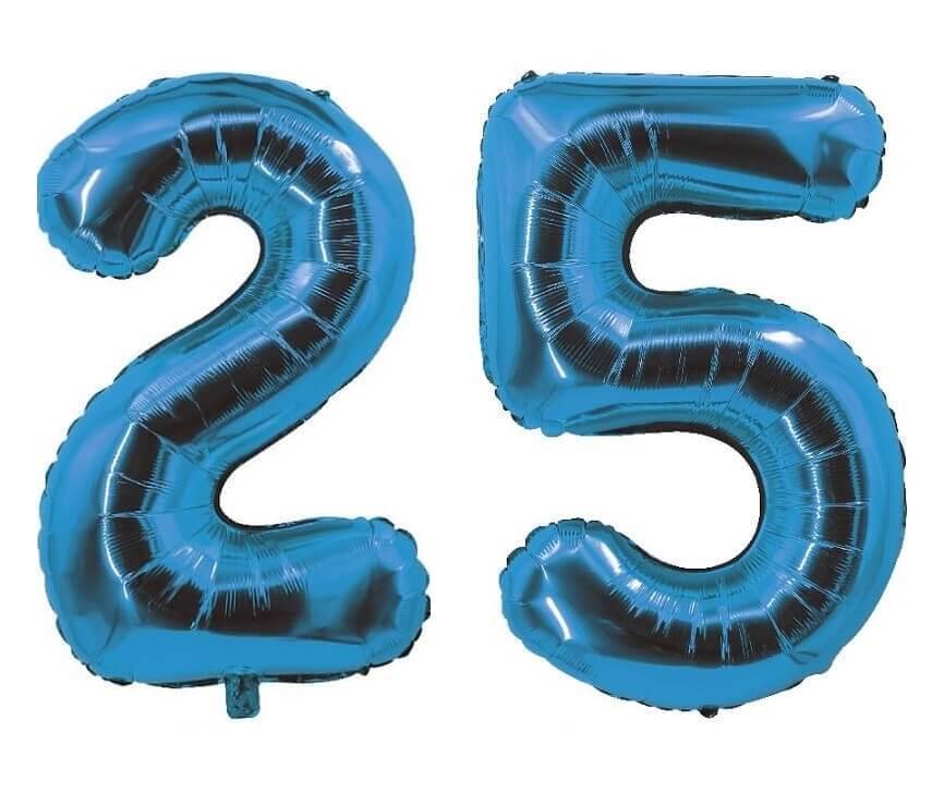 Decoration de salle avec ballon anniversaire chiffre 25 bleu en aluminium