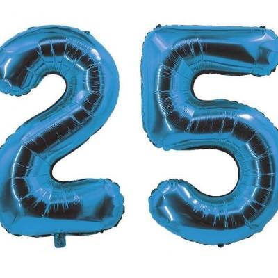 REF/7005 Décoration de salle avec ballon anniversaire chiffre 25 bleu en aluminium de 30cm.
