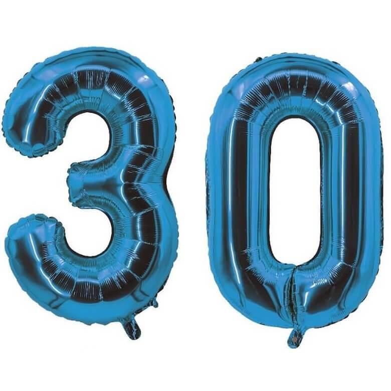 Decoration de salle avec ballon anniversaire chiffre 30 bleu en aluminium