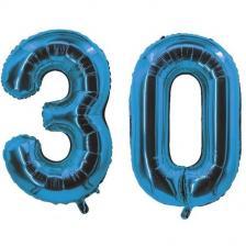 REF/7005 Décoration de salle avec ballon anniversaire chiffre 30 bleu en aluminium de 30cm.