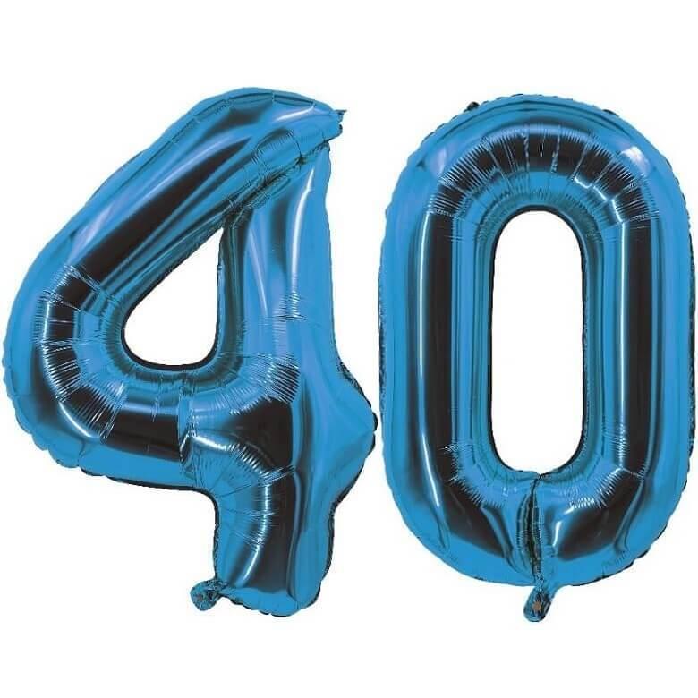 Decoration de salle avec ballon anniversaire chiffre 40 bleu en aluminium