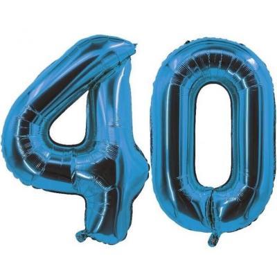 REF/7005 Décoration de salle avec ballon anniversaire chiffre 40 bleu en aluminium de 30cm.
