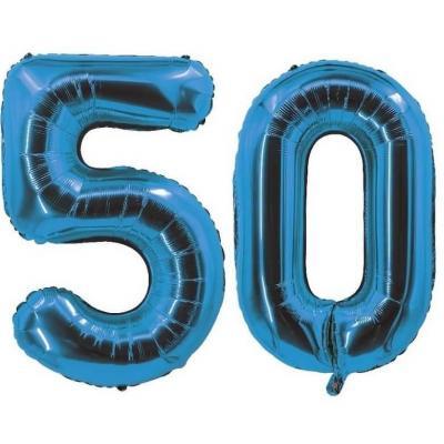 REF/7005 Décoration de salle avec ballon anniversaire chiffre 50 bleu en aluminium de 30cm.
