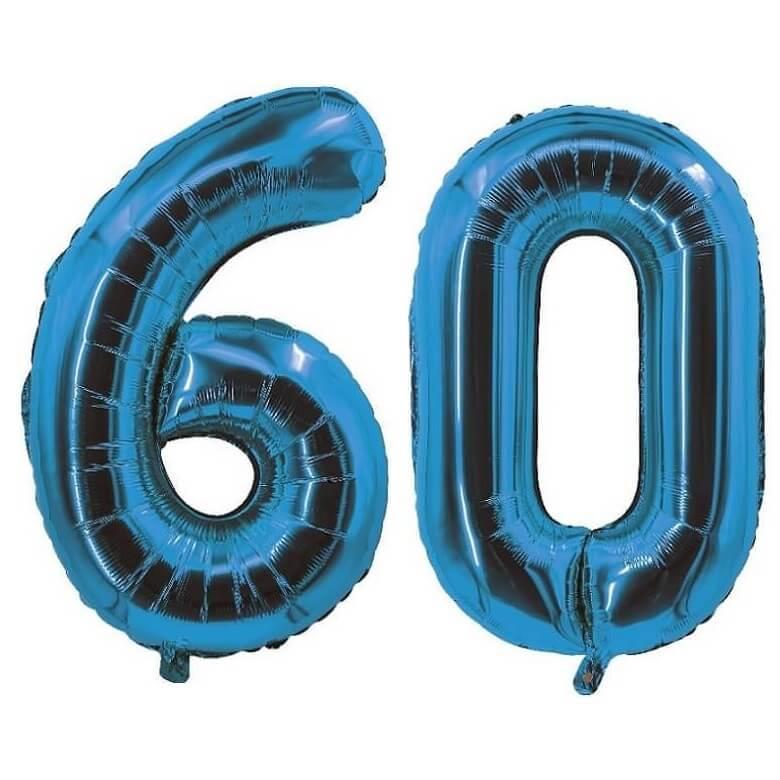 Decoration de salle avec ballon anniversaire chiffre 60 bleu en aluminium