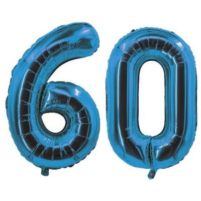 REF/7005 Décoration de salle avec ballon anniversaire chiffre 60 bleu en aluminium de 30cm.