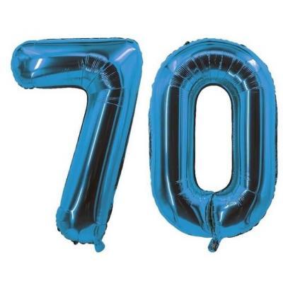 REF/7005 Décoration de salle avec ballon anniversaire chiffre 70 bleu en aluminium de 30cm.