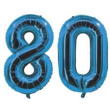 REF/7005 Décoration de salle avec ballon anniversaire chiffre 80 bleu en aluminium de 30cm.