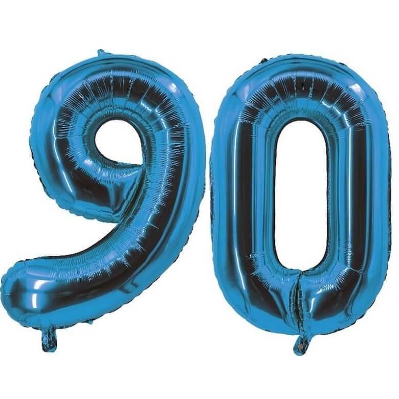 Decoration de salle avec ballon anniversaire chiffre 90 bleu en aluminium