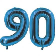 REF/7005 Décoration de salle avec ballon anniversaire chiffre 90 bleu en aluminium de 30cm.