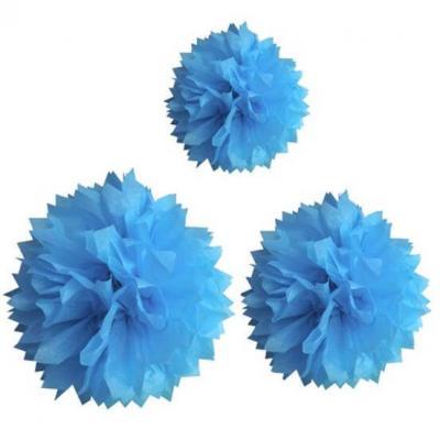 Boule bleu turquoise pompon (x3) REF/DEC590