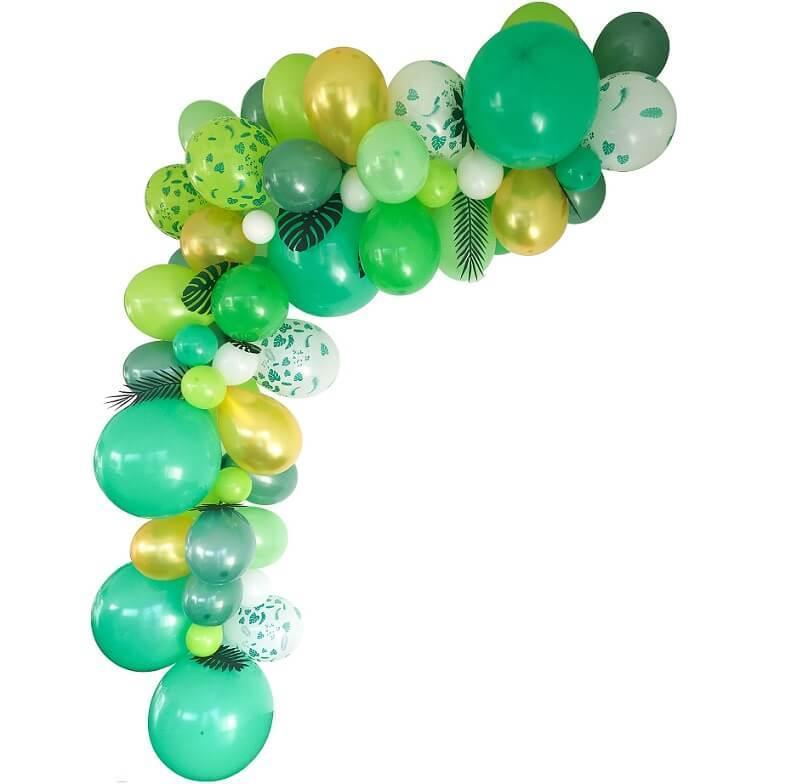 Decoration de salle avec guirlande organique ballon ballon vert et or