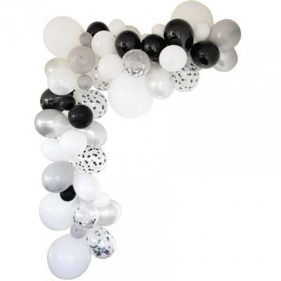 Décoration avec guirlande organique et ballon argent (x1) REF/50202