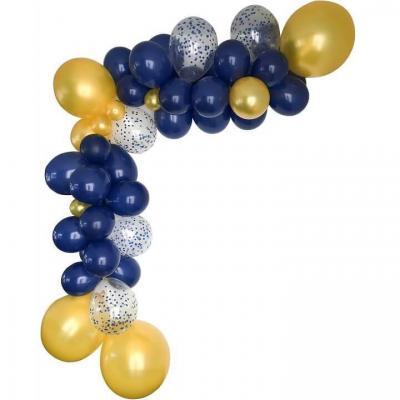Décoration avec guirlande organique et ballon bleu marine/or (x1) REF/50530