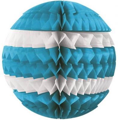 Décoration avec suspension boule éventail bleue et blanche 25cm (x1) REF/SBEB