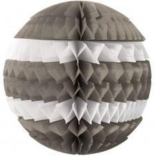 Décoration avec suspension boule éventail grise et blanche 25cm (x1) REF/SBEG