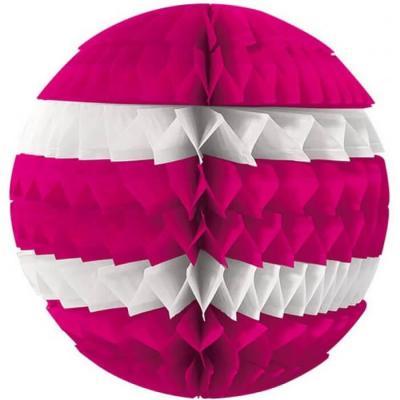Décoration avec suspension boule éventail rose fuchsia et blanche 25cm (x1) REF/SBEF